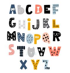 decorative alphabet in animal style creative kids vector image