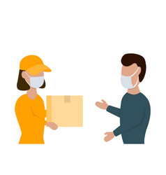 Delivery woman gives a box to man in face masks vector