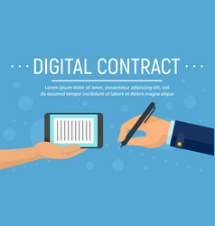 digital contract device concept banner flat style vector image