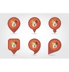 Dog mapping pins icons vector image