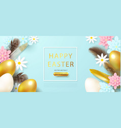 easter eggsflowersgift box and feathers on blue vector image