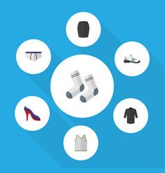Flat garment set of singlet uniform foot textile vector