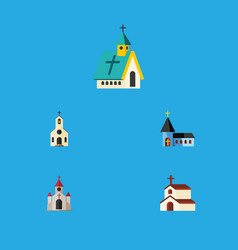 Flat icon church set of traditional architecture vector