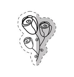 flower roses bouquet cut line vector image