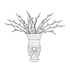 Fluffy pussy willow bouquets an arrangement in vector