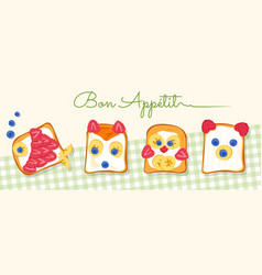 Four tasty fish fox chicken bear shaped toasts vector