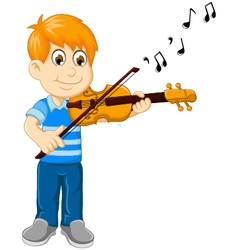 Funny boy cartoon playing violin vector