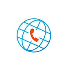 Globe and phone icon global client support call vector