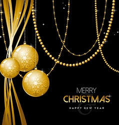 Gold Christmas and new year ornament bauble design vector image