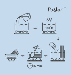 Graphic info or cooking pasta step by step vector