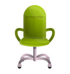 green leather desk chair icon cartoon style vector image