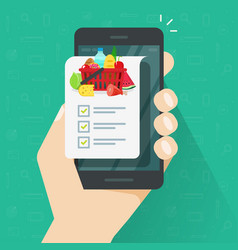 grocery shopping list app on cellphone or vector image