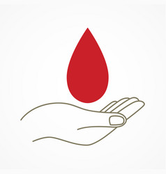 hand with blood drop symbol vector image