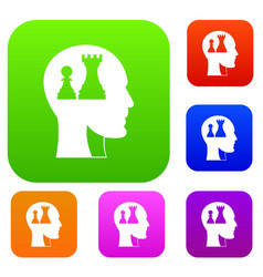 head with queen and pawn chess set color vector image
