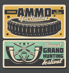 Hunter ammo bullet and horns posters vector