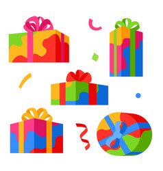 icon set gift boxes vector image