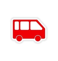 Icon sticker realistic design on paper minivan vector