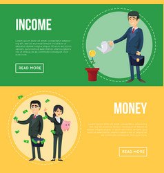 Income money flyers with businessmen vector