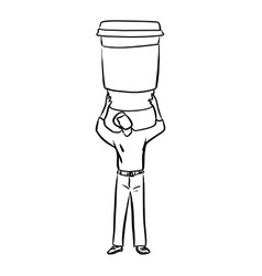 man holding big takeaway coffee at his back vector image