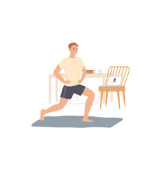 man trains at home does exercises from video vector image