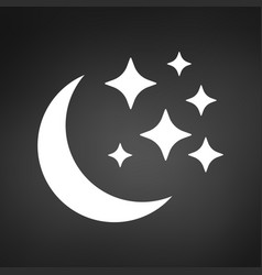 moon and stars icon flat isolated on background vector image