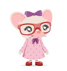 Mouse girl cub cute animal mascot cartoon icon vector