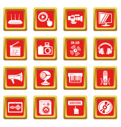 multimedia internet icons set red square vector image