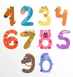 Numbers like farm animals vector