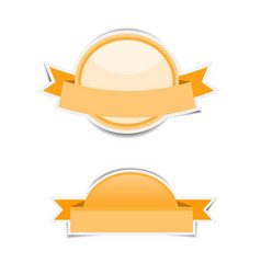 Orange circle banner paper stickers with shadows vector