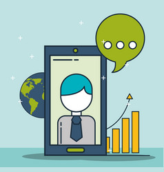 phone businessman world financial statistics vector image