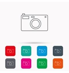 Photo camera icon Photographer equipment sign vector image