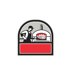 Pizza Cook Peel Wood Fired Oven Crest Retro vector