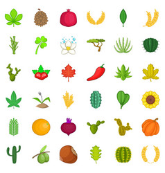 plant icons set cartoon style vector image