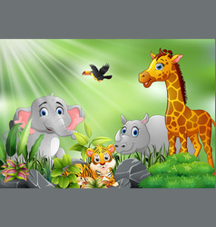 Printnature scene with wild animals cartoon vector
