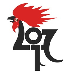 red fire rooster as symbol new year 2017 in vector image