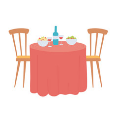 Restaurant table with food and wine bottle cups vector
