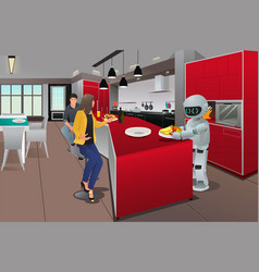 robot serving breakfast vector image