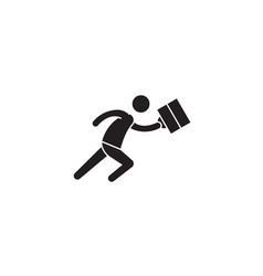 running businessman black concept icon vector image
