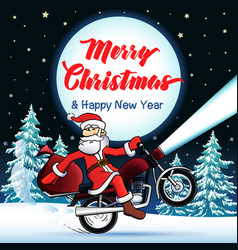 santa biker merry year card vector image