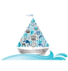 Sea summer travel design with sail boat and icon vector image