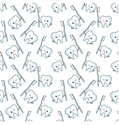 seamless pattern with tooth and toothbrush vector image