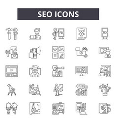seo line icons signs set linear concept vector image
