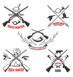 set hunting emblem templates hunting rifles vector image