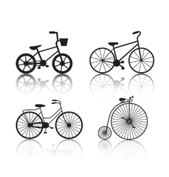 Set of black bicycles silhouettes icons vector