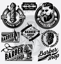 set of templates for barbershop barbershop logo vector image