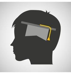 Silhouette head boy student hat graduation vector