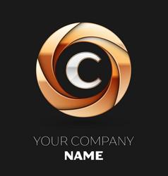 Silver letter c logo in golden circle shape vector