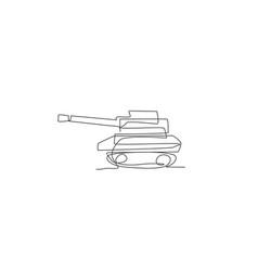 Single continuous line drawing metal war tank vector