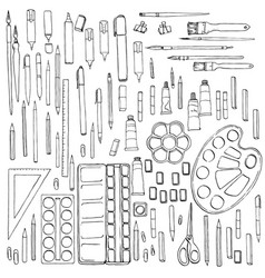 Stationery art materials set paint brushes vector