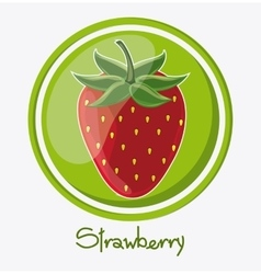 Strawberry fruit inside seal stamp design vector image